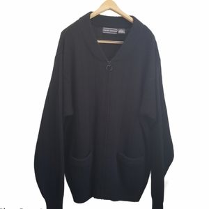 "David Taylor ""grandpa"" black zippered cardigan XL"